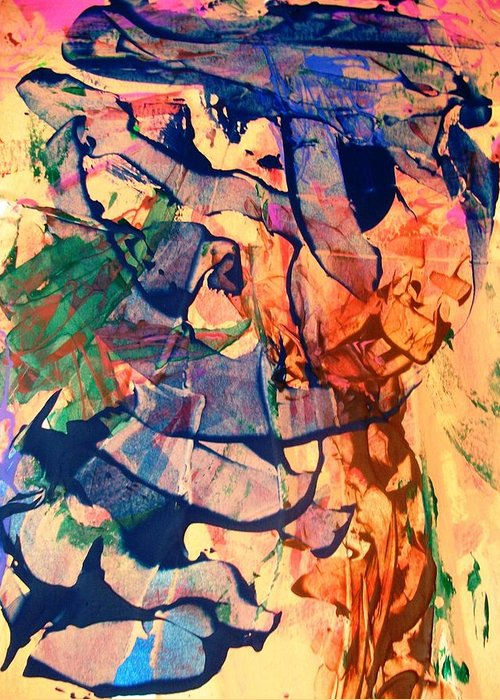 Abstract Greeting Card featuring the painting Secret Pentagon Project by Bruce Combs - REACH BEYOND