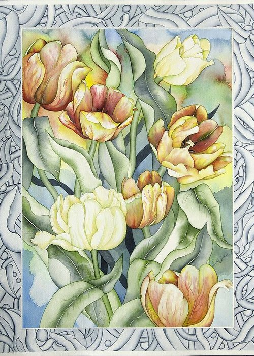 Flowers Greeting Card featuring the painting Secret World I by Liduine Bekman