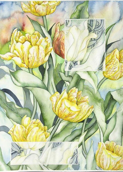 Flowers Greeting Card featuring the painting Secret World II by Liduine Bekman