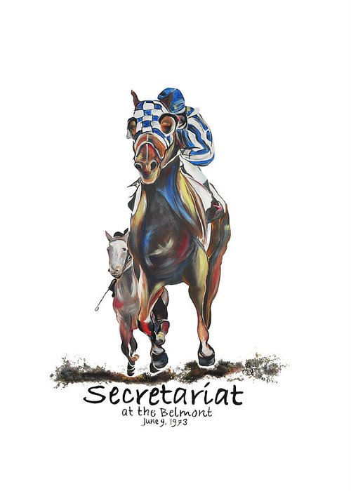 Secretariat Greeting Card featuring the painting Secretariat At The Belmont Mural by Amanda Sanford