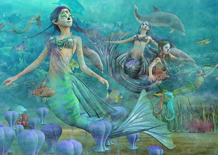 Angel Mermaids Ocean Digital Art Greeting Cards