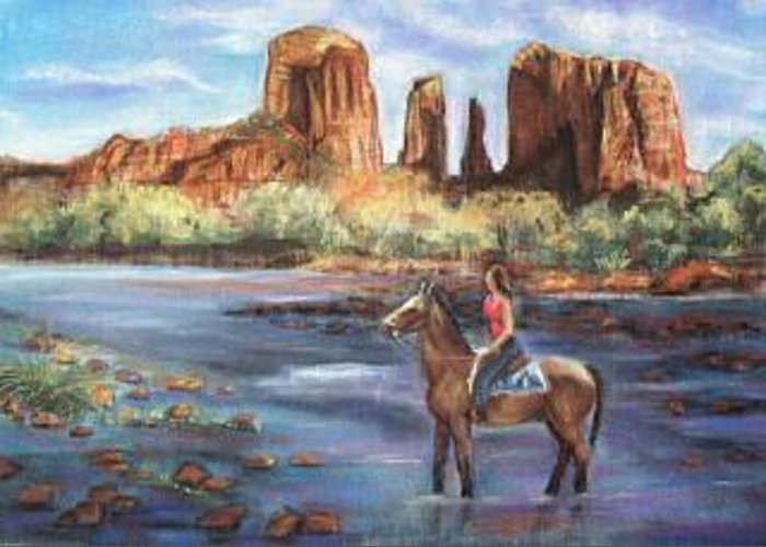 Southwestern Landscape Greeting Card featuring the painting Sedona Beauty by Darla Joy Johnson