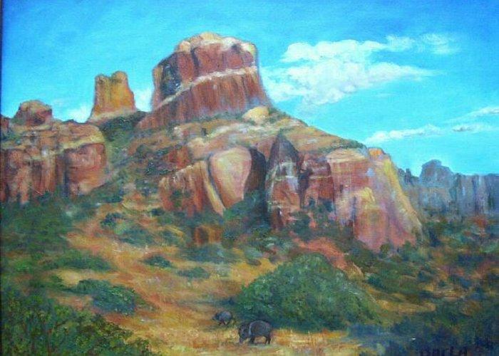 Landscape Greeting Card featuring the painting Sedona Blu by Darla Joy Johnson