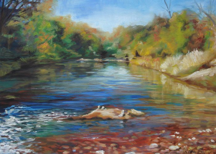 Landscape Greeting Card featuring the painting Sedona Creek by Nancy Isbell
