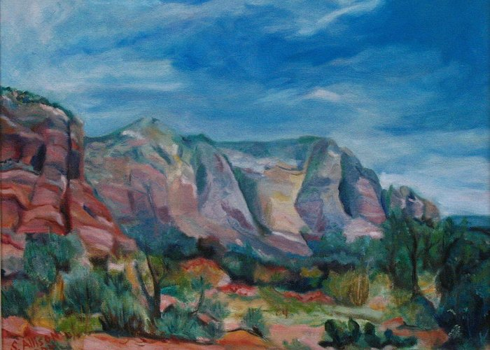 Landscape Greeting Card featuring the painting Sedona II by Stephanie Allison