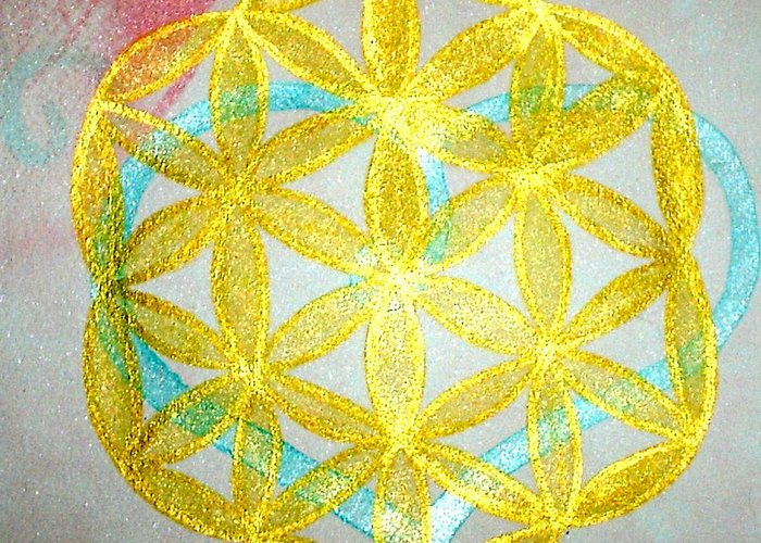 Sacred Geometry Greeting Card featuring the painting Seed Of Life by Chandelle Hazen