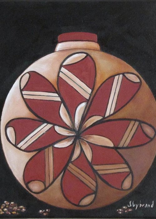 Seed Pot Greeting Card featuring the painting Seed Pot by Judy Lybrand