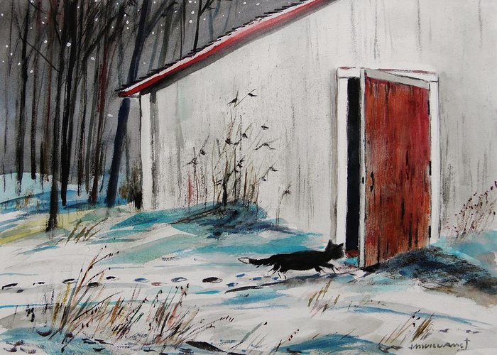 Cat Greeting Card featuring the painting Seeking Shelter by John Williams