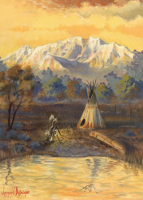 Ute Greeting Card featuring the painting Seeking The Divine by Jeff Brimley