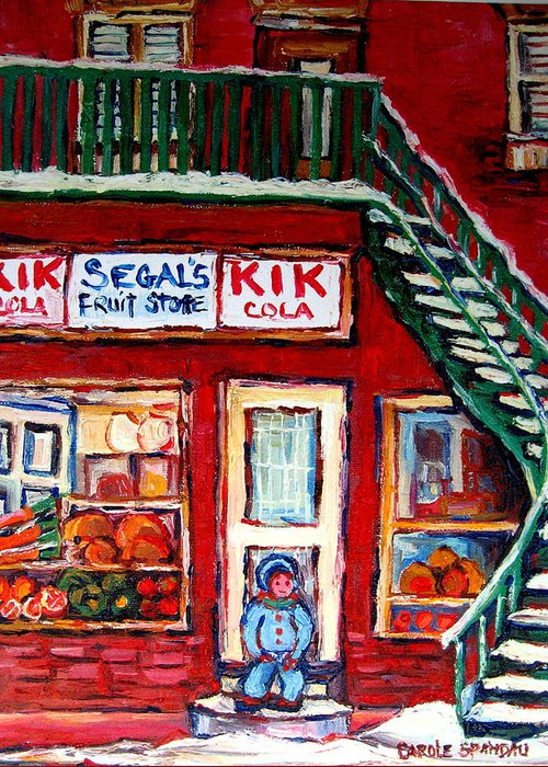 Segal Greeting Card featuring the painting Segal's Market St.lawrence Boulevard Montreal by Carole Spandau