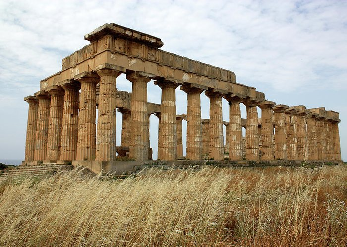 Aged Greeting Card featuring the photograph Segesta Greek Temple In Sicily, Italy by Paolo Modena