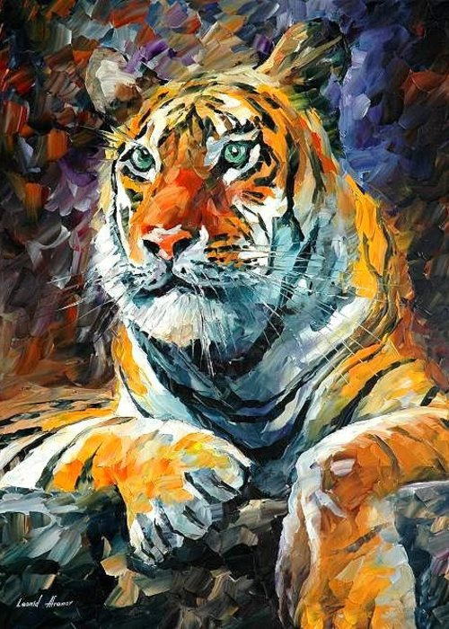Painting Greeting Card featuring the painting Seibirian Tiger by Leonid Afremov