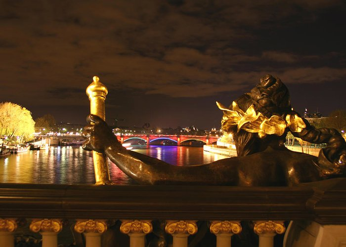 Pont Alexandre Iii Greeting Card featuring the photograph Seine By Night by Hans Jankowski