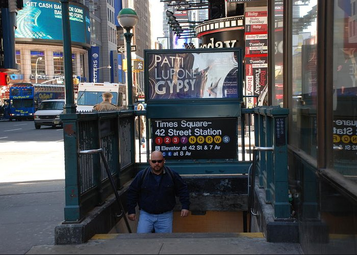 Subay Greeting Card featuring the photograph Self At Subway Stairs by Rob Hans