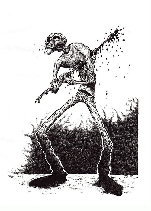 Dark Greeting Card featuring the drawing Self Inflicted by Tobey Anderson