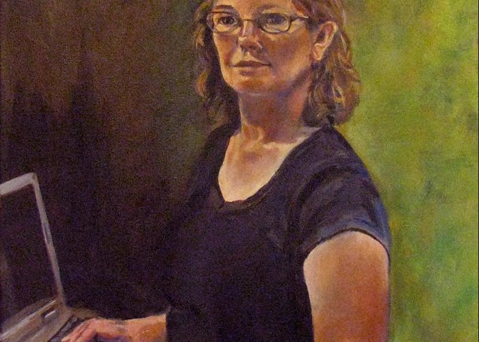 Self Portrait Greeting Card featuring the painting Self Portrait After Sofonisba by Art Nomad Sandra Hansen