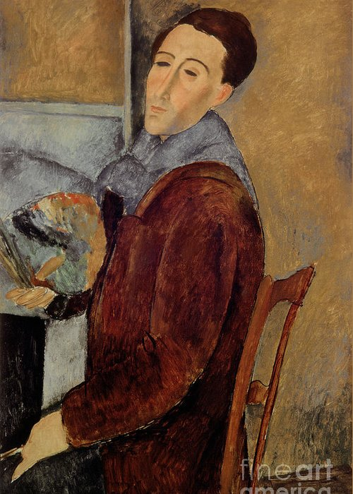 Self Greeting Card featuring the painting Self Portrait by Amedeo Modigliani