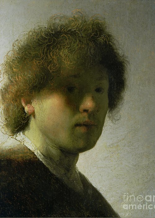 Self Greeting Card featuring the painting Self Portrait As A Young Man by Rembrandt