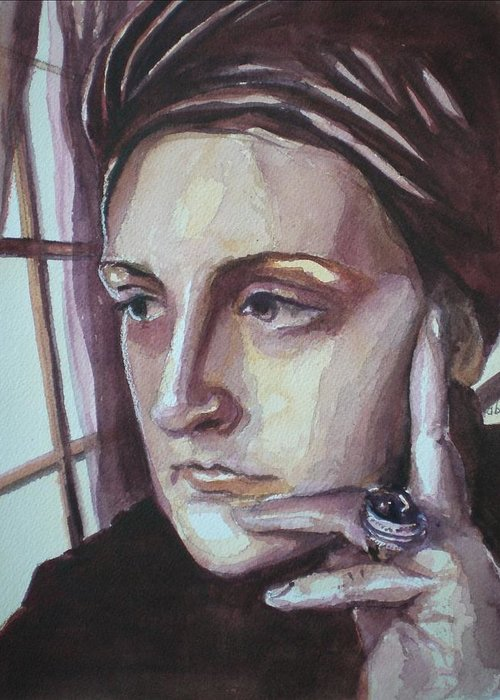 Self-portrait Greeting Card featuring the painting Self-portrait At 30 by Aleksandra Buha