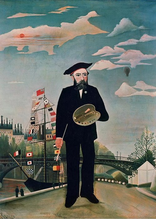 Self Greeting Card featuring the painting Self Portrait From Lile Saint Louis by Henri Rousseau