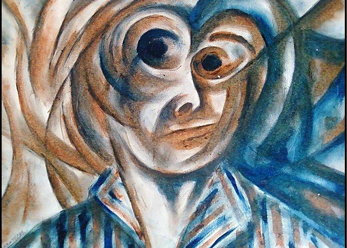 Self-portrait Greeting Card featuring the digital art Self-portrait by Paulo Zerbato