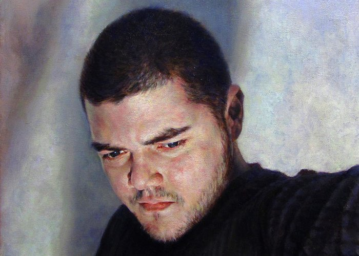 Self Greeting Card featuring the painting Self Portrait W Shadows by Joe Velez