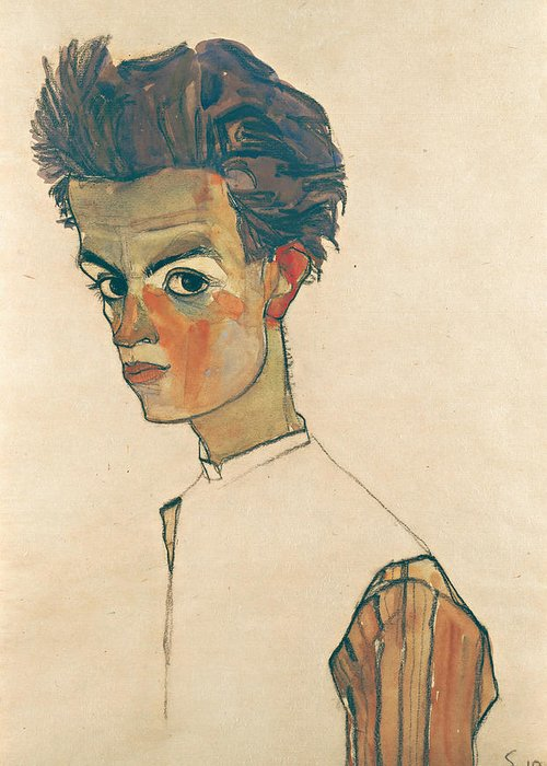 Egon Schiele Greeting Card featuring the drawing Self-portrait With Striped Shirt by Egon Schiele