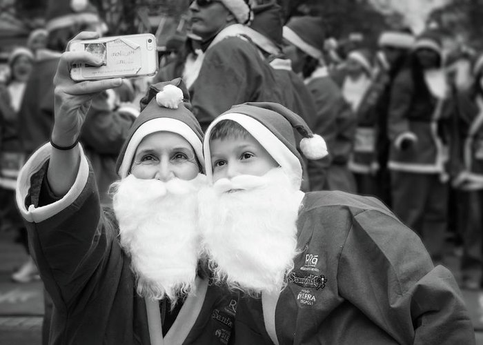 Alan Brown Greeting Card featuring the photograph Selfie With Santa by Alan Brown