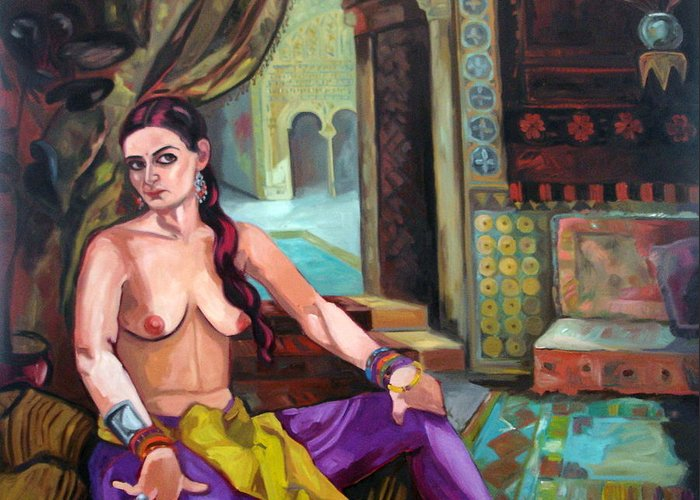 Portraits Greeting Card featuring the painting Selfportrait Oriental by Carmen Stanescu Kutzelnig