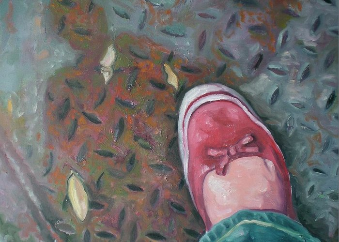 Greeting Card featuring the painting Selfportrait Red Shoe by Aleksandra Buha