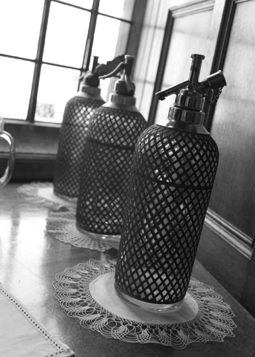 Seltzer Greeting Card featuring the photograph Seltzer Bottles by Lauri Novak