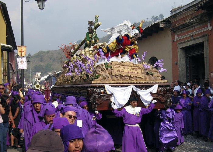 Semana Santa Greeting Card featuring the photograph Semana Santa Procession V by Kurt Van Wagner
