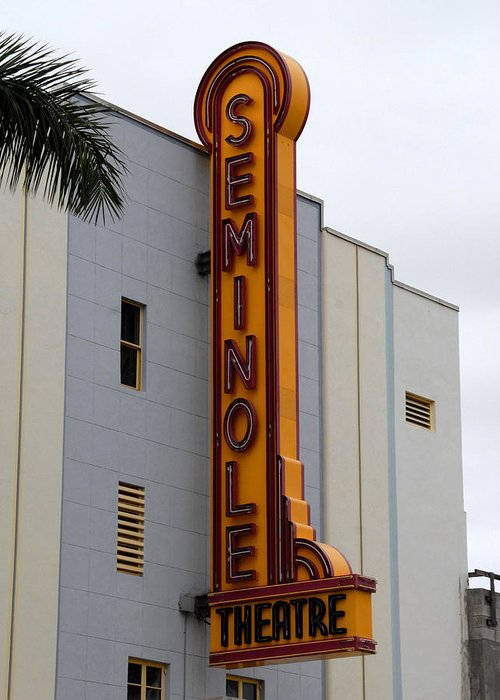 Fine Art Photography Greeting Card featuring the photograph Seminole Theatre 1940 by David Lee Thompson