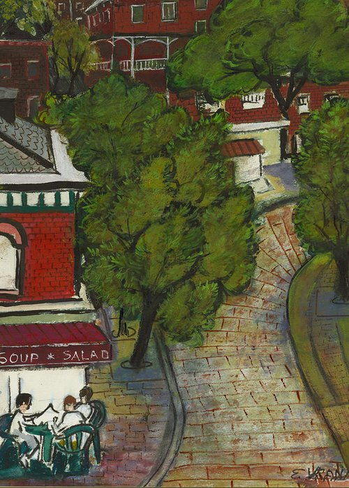 Landscape Greeting Card featuring the painting Seneca And Aurora St Ithaca New York by Ethel Vrana