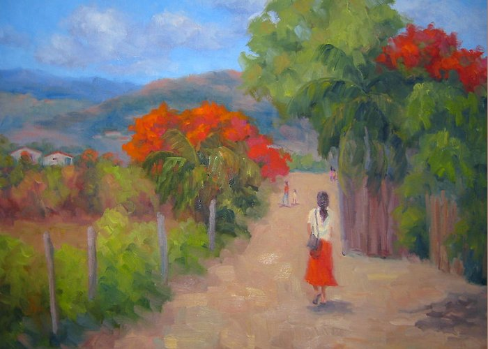 Honduras Greeting Card featuring the painting Senorita In A Red Skirt by Bunny Oliver