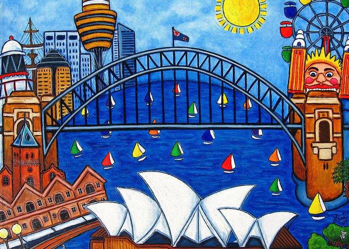 House Greeting Card featuring the painting Sensational Sydney by Lisa Lorenz