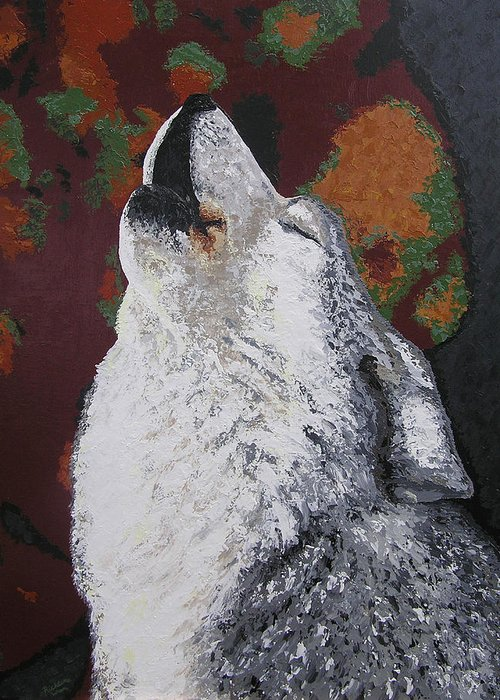 Wolf Greeting Card featuring the painting Sentient Guide by Ricklene Wren