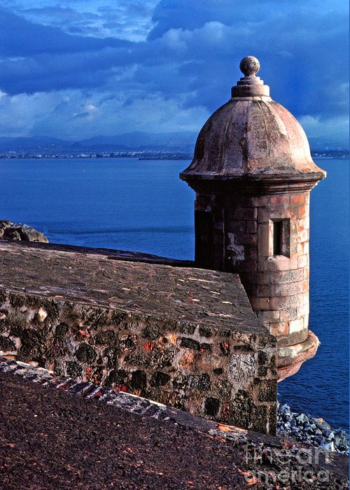 Puerto Rico Greeting Card featuring the photograph Sentry Box El Morro Fortress by Thomas R Fletcher