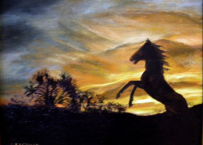 Sunset Greeting Card featuring the painting Sentry On Duty by Olga Kaczmar