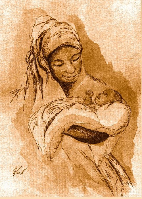 Inspirational Greeting Card featuring the drawing Sepia Madonna by George Nock