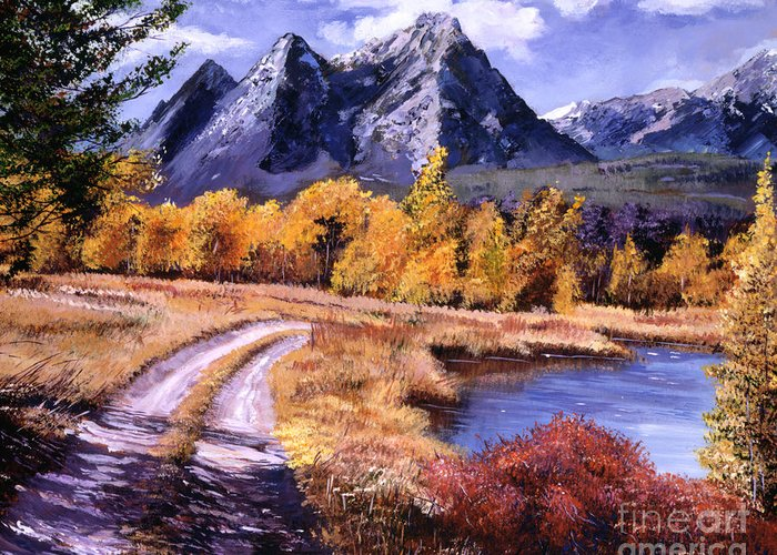 Mountains Greeting Card featuring the painting September High Country by David Lloyd Glover