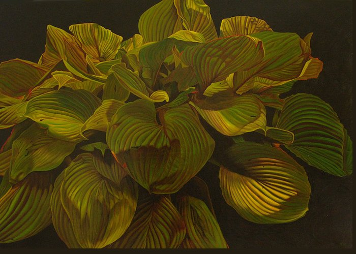 Plant Greeting Card featuring the painting September Night by Thu Nguyen
