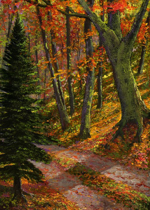 Road In The Woods Greeting Card featuring the painting September Road by Frank Wilson