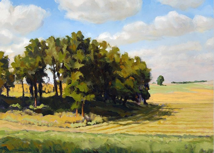 Landscape Greeting Card featuring the painting September Summer by Bruce Morrison