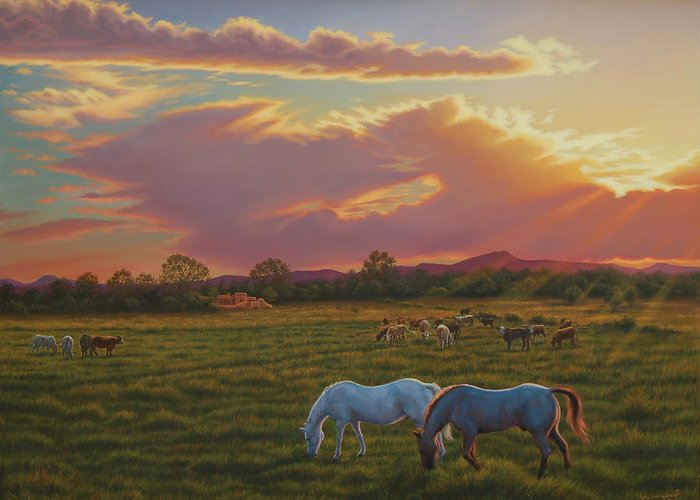 Southwest Greeting Card featuring the painting September Sunset In Taos by Johanna Girard