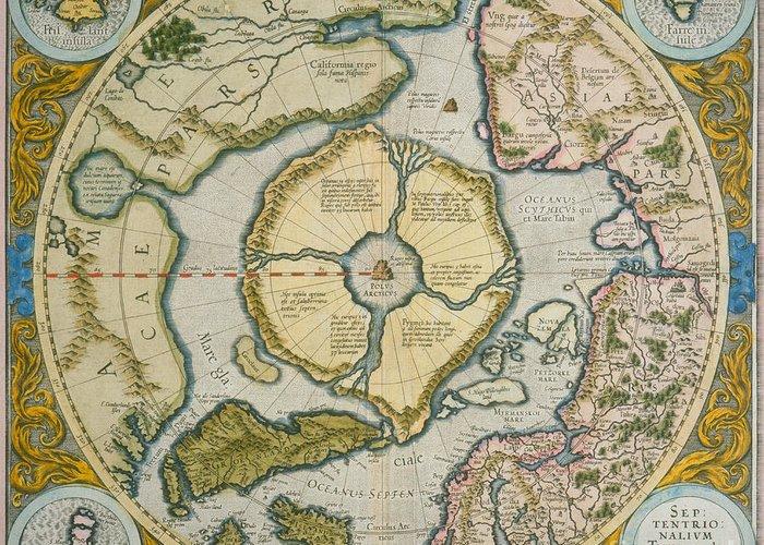 Pole Greeting Card featuring the drawing Septentrionalium Terrarum Descriptio by Gerardus Mercator