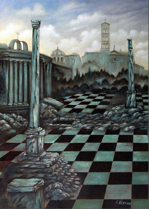 Surreal Greeting Card featuring the painting Sepulchre by Valerie Vescovi