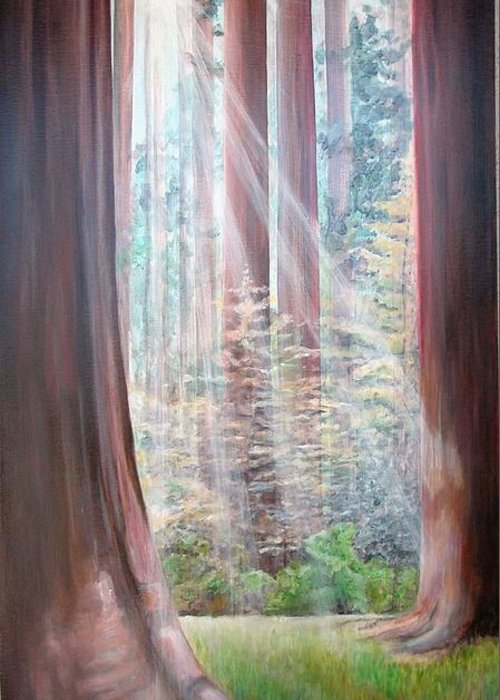Landscape Greeting Card featuring the painting Sequoia by Muriel Dolemieux