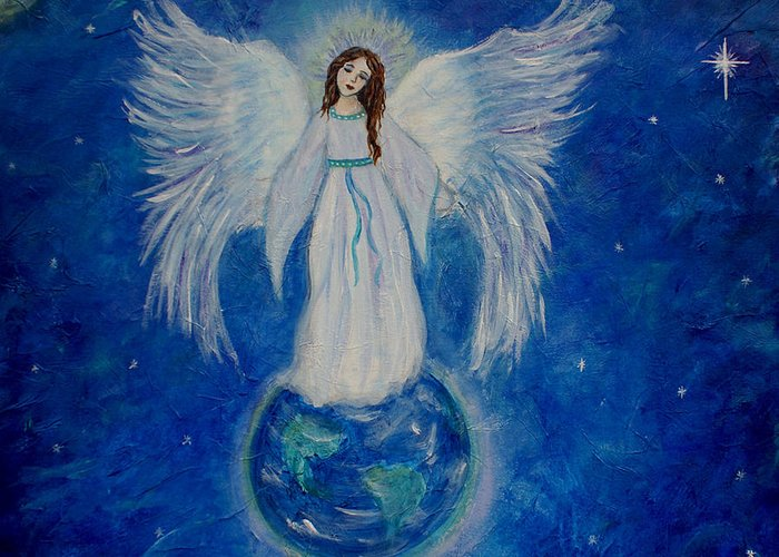 Angel Greeting Card featuring the painting Seraphina by The Art With A Heart By Charlotte Phillips