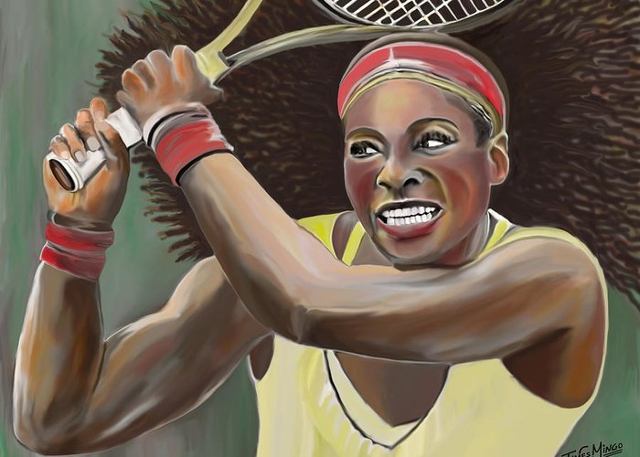 Tennis Greeting Card featuring the digital art Serena by James Mingo